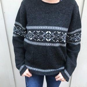 Eddie Bauer 100% Lambswool Ski style Sweater Lg